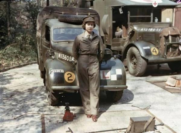 Queen Elizabeth during her military service during World War II