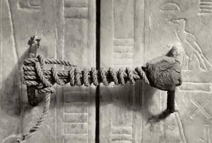 "Tutankhamon's sarcophagus with its complete ""lock""."