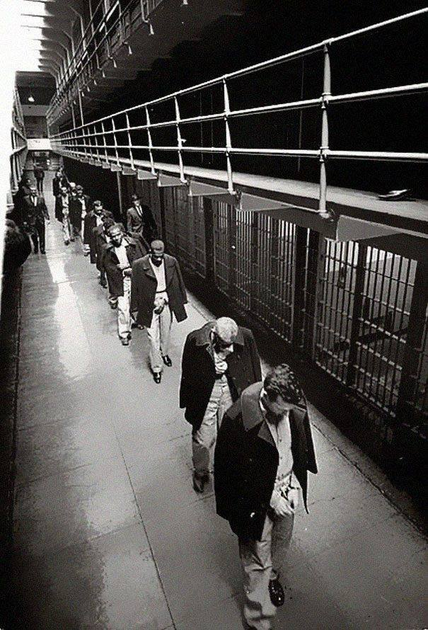 Last prisoners leaving Alcatraz Island 1963.