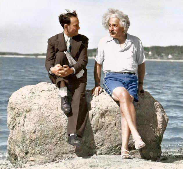 Photo of Albert Einstein enjoying a summer on Long Island in 1939