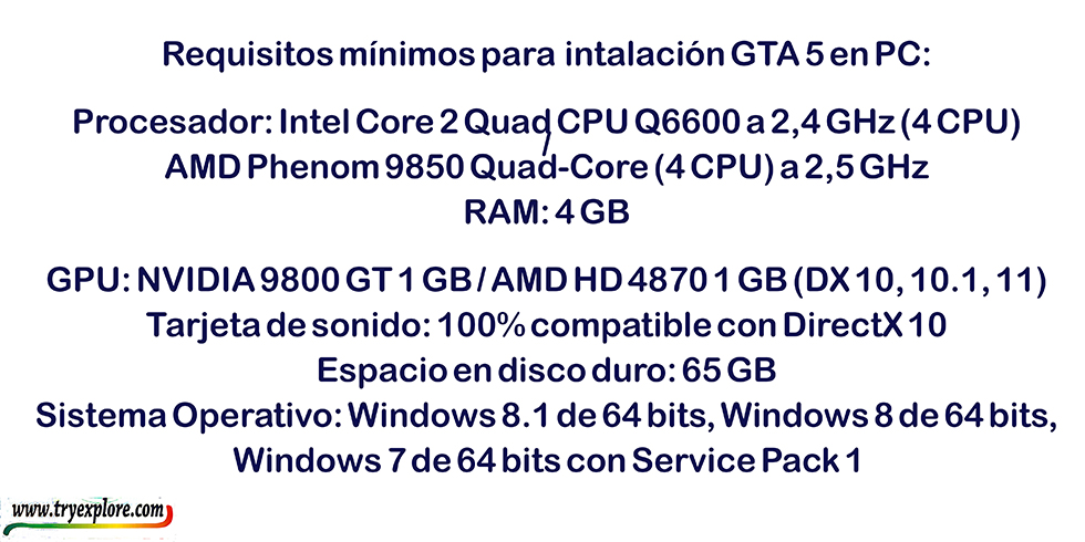 Requisitos mínimos para descargar Gta V en PC