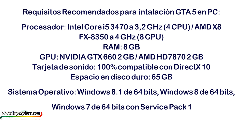Requisitos recomendados para descargar GTA V en PC